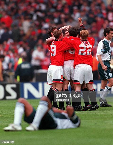 Football 1996 FA Cup Final Wembley 11th May Manchester United 1 v Liverpool 0 Manchester United goalscorer Eric Cantona is congratulated by team...