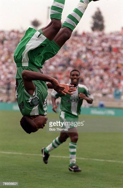 Football, 1996 Olympic Games, Sanford Stadium, Georgia, USA, Nigeria 3 v Argentina 2, Nigeria's Celestine Babayaro celebrates by performing a...
