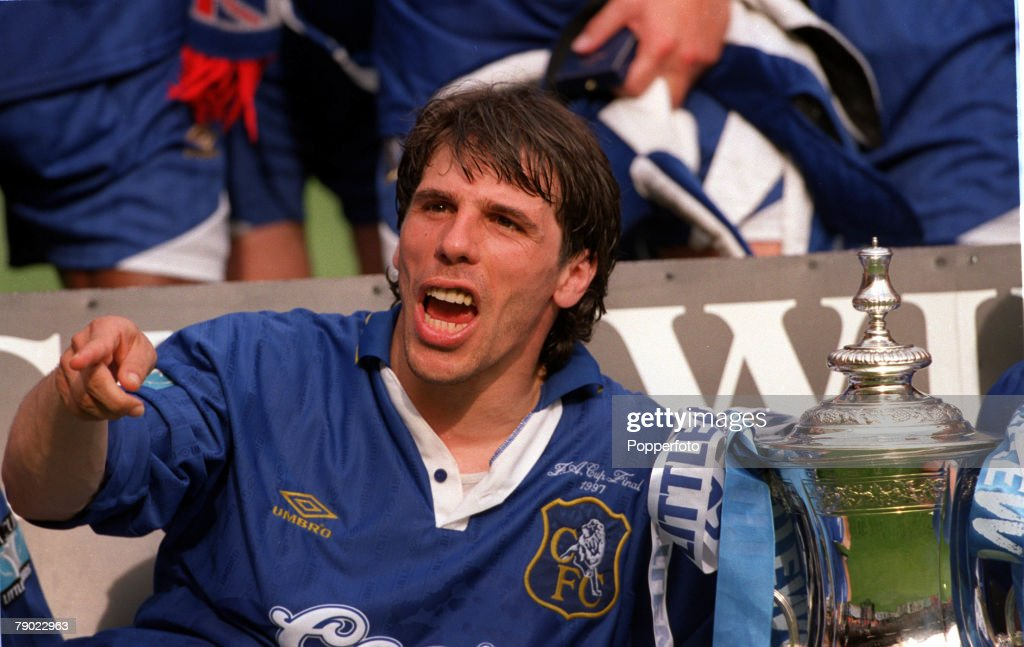Football. 1997 FA Cup Final. Wembley. 17th May, 1997. Chelsea 2 v Middlesbrough 0. Chelsea's Gianfranco Zola celebrates with the trophy after the presentation. : News Photo