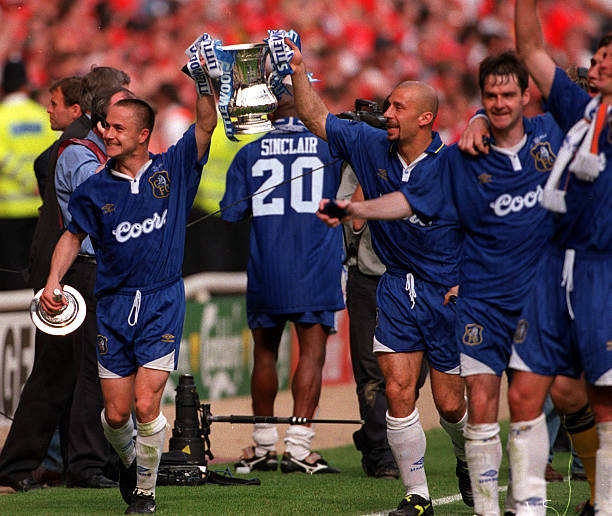 Football, 1997 FA Cup Final, Wembley, 17th May Chelsea 2 v Middlesbrough 0, Chelsea's Dennis Wise and Gianluca Vialli proudly display the trophy to...