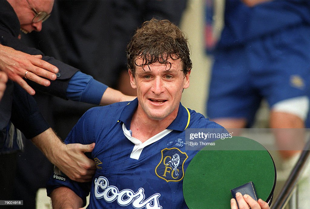 Football. 1997 FA Cup Final. Wembley. 17th May, 1997. Chelsea 2 v Middlesbrough 0. Chelsea's Mark Hughes, who won a record fourth winners medal, celebrates after the match. : News Photo