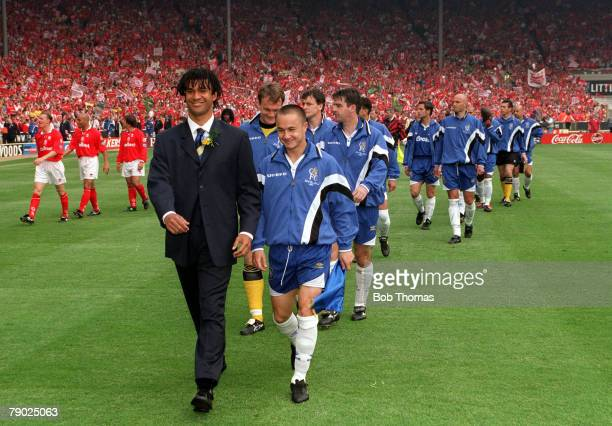 Football 1997 FA Cup Final Wembley 17th May Chelsea 2 v Middlesbrough 0 Chelsea's manager Ruud Gullitt and captain Dennis Wise leading out the...