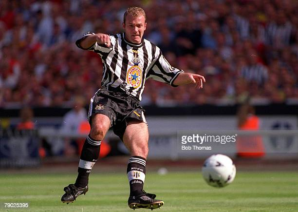Football 1998 FA Cup Final Wembley 16th May Arsenal 2 v Newcastle United 0 Newcastle's Alan Shearer plays the ball