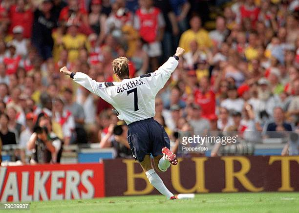 Football 1999 FA Charity Shield Wembley 1st August Arsenal 2 v Manchester United 1 Manchester United's David Beckham celebrates after scoring the...