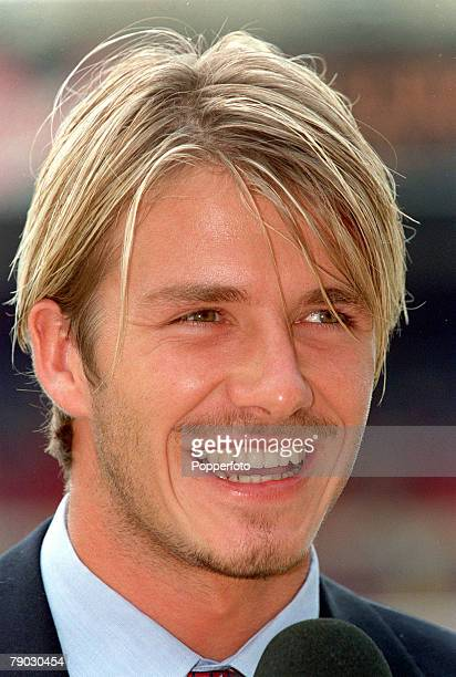 Football 1999 FA Charity Shield Wembley 1st August Arsenal 2 v Manchester United 1 Manchester United's David Beckham wearing a suit before the match