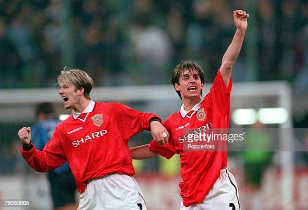 Football 1999 UEFA Champions League QuarterFinal Second Leg San Siro Stadium 17th March Inter Milan 1 v Manchester United 1 Manchester United's David...
