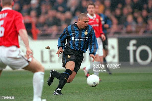 Football 1999 UEFA Champions League QuarterFinal Second Leg San Siro Stadium 17th March Inter Milan 1 v Manchester United 1 Inter Milan's Ronaldo on...