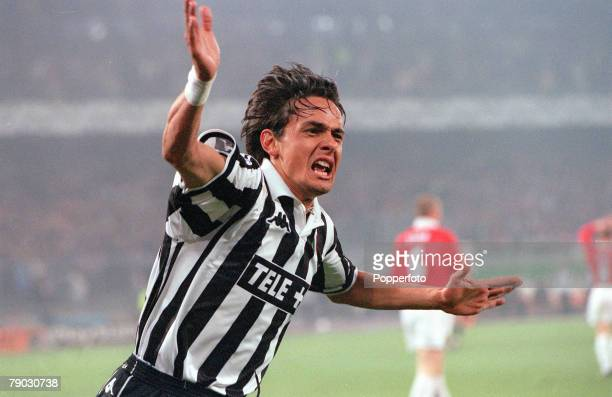 Football 1999 UEFA Champions League SemiFinal Second leg 21st April Turin Juventus 2 v Manchester United 3 Juventus' Filippo Inzaghi celebrates after...