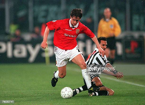 Football 1999 UEFA Champions League SemiFinal Second leg 21st April Turin Juventus 2 v Manchester United 3 Manchester United's Gary Neville beats...