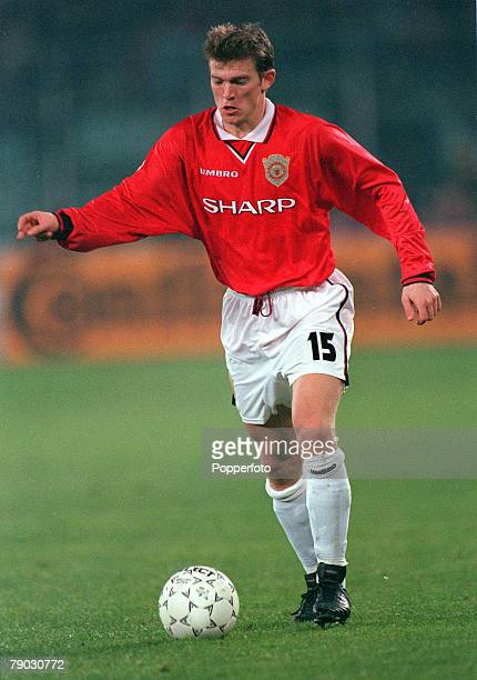 Football 1999 UEFA Champions League SemiFinal Second leg 21st April Turin Juventus 2 v Manchester United 3 Manchester United's Jesper Blomqvist on...