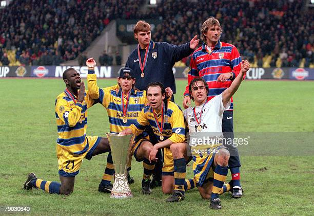 Football 1999 UEFA Cup Final Moscow 12th May Parma 3 v Marseille 0 Parma's Lilian Thuram Roberto Mussi Luigi Apolloni Alain Boghossian Micillo and...