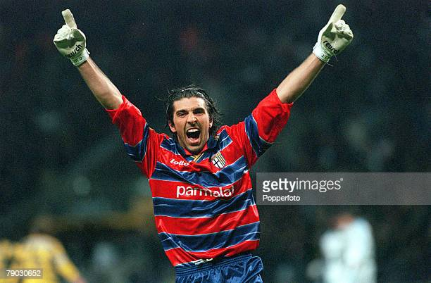 Football 1999 UEFA Cup Final Moscow 12th May Parma 3 v Marseille 0 Parma goalkeeper Gianluigi Buffon celebrates their first goal scored by Hernan...