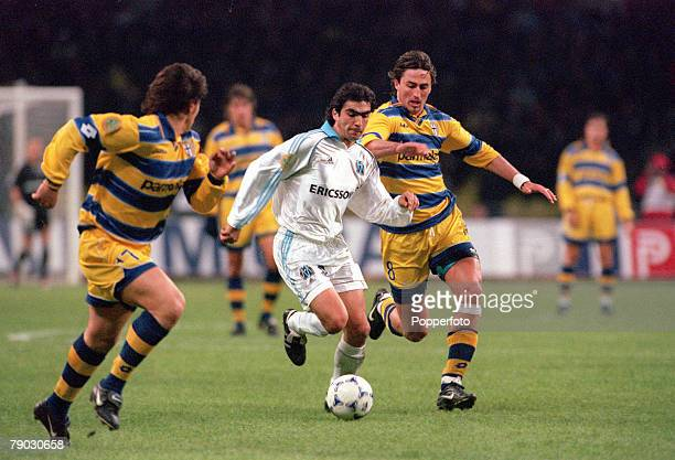 Football 1999 UEFA Cup Final Moscow 12th May Parma 3 v Marseille 0 Marseille's Frederic Brando on a run chased by Parma's Dino Baggio