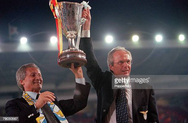 Football 1999 UEFA Cup Winners Cup Final Birmingham 19th May Lazio 2 v Mallorca 1 Lazio coach SvenGoran Erikkson and Club President Sergio Cragnotti...