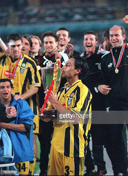 Football, 1999 UEFA Cup Winners Cup Final, Birmingham, 19th May Lazio 2 v Mallorca 1, Lazio's captain Alessandro Nesta kisses the trophy