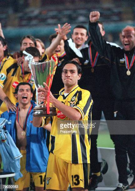 Football 1999 UEFA Cup Winners Cup Final Birmingham 19th May Lazio 2 v Mallorca 1 Lazio's captain Alessandro Nesta holds aloft the trophy during the...