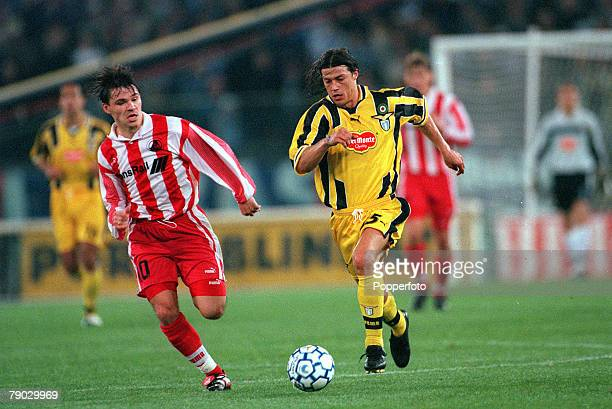 Football 1999 UEFA Cup Winners Cup SemiFinal Second leg Lazio 22nd April Lazio 0 v Lokomotiv Moscow 0 Lazio's Matias Almeyda races for the ball with...