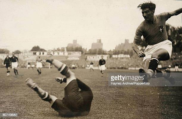 Football 19th June 1938 World Cup Finals Paris France Final Italy 4 v Hungary 2 Action in the Hungary goalmouth as an Italian forward hits for goal...