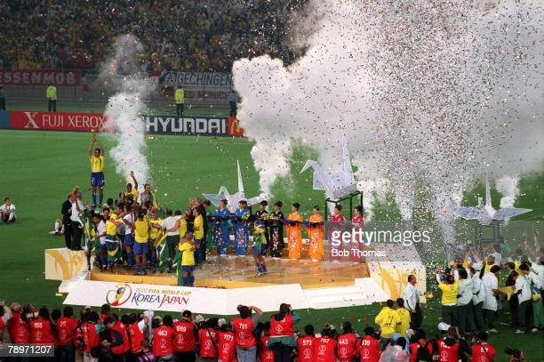 Football 2002 FIFA World Cup Final Yokohama Japan 30th June 2002 Brazil 2 v Germany 0 Brazilian captain Cafu holds the World Cup trophy aloft as he...