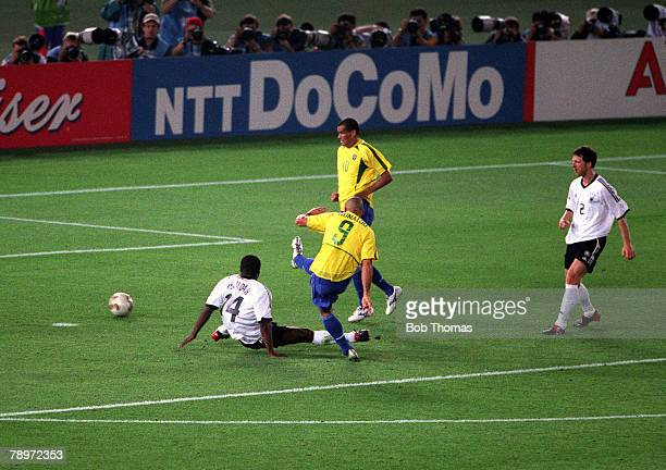 Football 2002 FIFA World Cup Final Yokohama Japan 30th June 2002 Brazil 2 v Germany 0 Brazil's Ronaldo scores his second goal of the match past the...