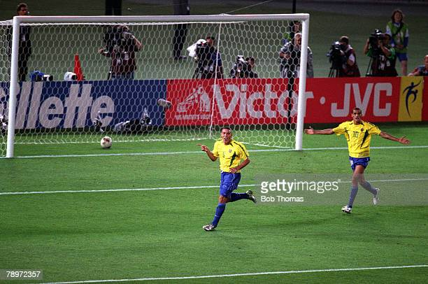 Football 2002 FIFA World Cup Final Yokohama Japan 30th June 2002 Brazil 2 v Germany 0 Brazil's Ronaldo celebrates after scoring his second goal with...