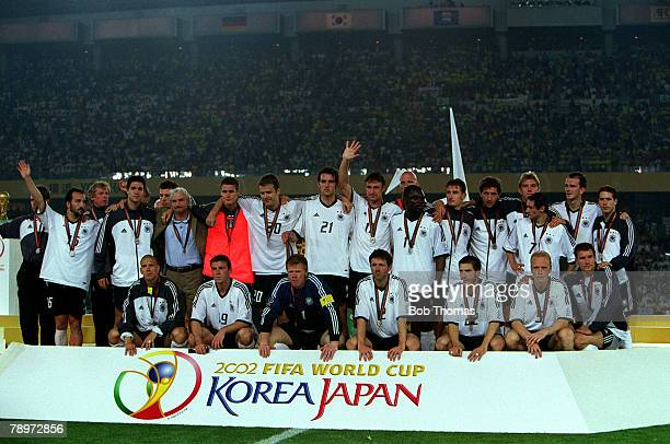 Football 2002 FIFA World Cup Final Yokohama Japan 30th June 2002 Brazil 2 v Germany 0 The Germany squad and officials pose together with their...
