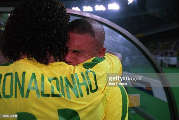 Football 2002 FIFA World Cup Finals Final Yokohama Japan 30th June 2002 Germany 0 v Brazil 2 Tears of emotion near the end of the match from Brazil's...