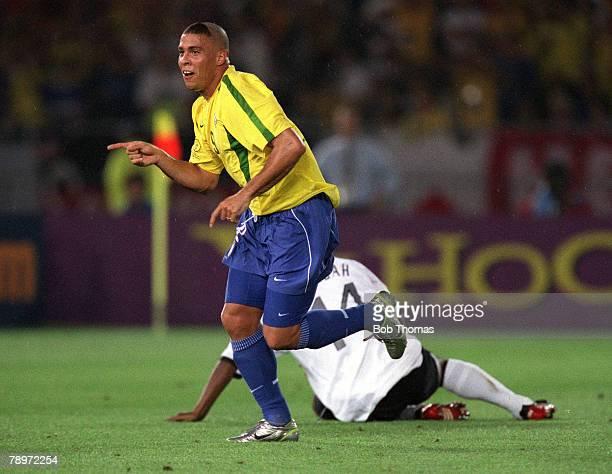Football 2002 FIFA World Cup Finals Final Yokohama Japan 30th June 2002 Germany 0 v Brazil 2 Brazil's Ronaldo turns to celebrate after scoring his...