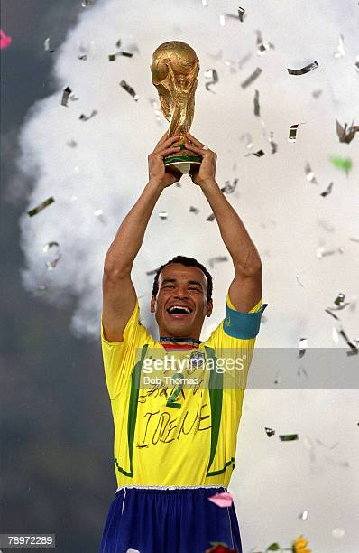 Football 2002 FIFA World Cup Finals Final Yokohama Japan 30th June 2002 Germany 0 v Brazil 2 Brazil captain Cafu holds the World Cup trophy aloft at...
