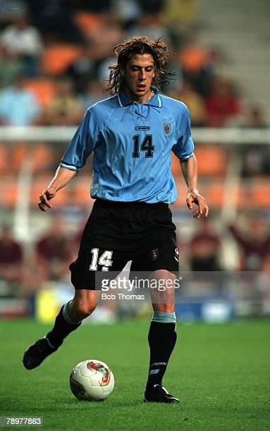 Football 2002 FIFA World Cup Finals Group A Ulsan South Korea 1st June 2002 Denmark 2 v Uruguay 1 Uruguay's Gonzalo SorondoCredit POPPERFOTO/JOHN...