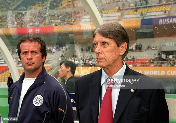 Football 2002 FIFA World Cup Finals Group B Busan South Korea 2nd June 2002 Paraguay 2 v South Africa 2 Paraguayan coach Cesare Maldini and assistant...