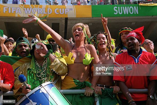Football 2002 FIFA World Cup Finals Group C Suwon South Korea 13th June 2002 Costa Rica 2 v Brazil 5 Fervent Brazilian fans at the game featuring...