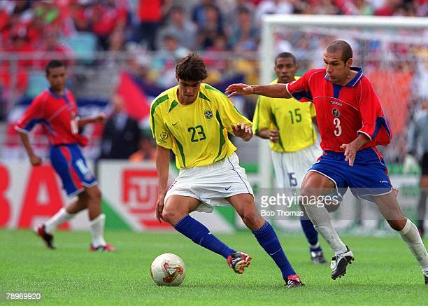 Football 2002 FIFA World Cup Finals Group C Suwon South Korea 13th June 2002 Costa Rica 2 v Brazil 5 Brazil's Kaka on the ball with Costa Rica's Luis...
