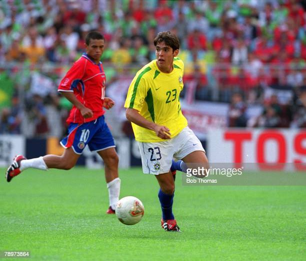 Football 2002 FIFA World Cup Finals Group C Suwon South Korea 13th June 2002 Costa Rica 2 v Brazil 5 Brazil's Kaka on the ball with Costa Rica's...