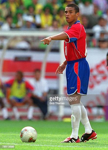 Football 2002 FIFA World Cup Finals Group C Suwon South Korea 13th June 2002 Costa Rica 2 v Brazil 5 Costa Rica's Walter Centeno about to take a free...