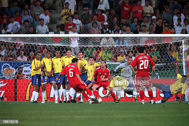 Football 2002 FIFA World Cup Finals Group C Ulsan South Korea 3rd June 2002 Brazil 2 v Turkey 1 Turkey's Arif Erdem prepares to hit a free kick as...