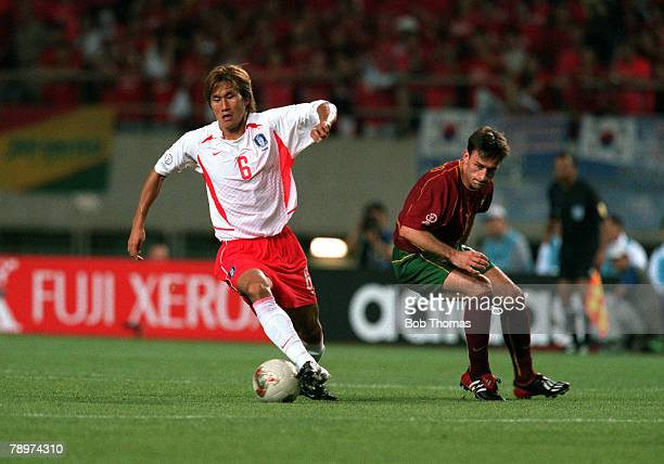Football 2002 FIFA World Cup Finals Group D Incheon South Korea 14th June 2002 South Korea 1 v Portugal 0 South Korea's Yoo Sang Chul beats...