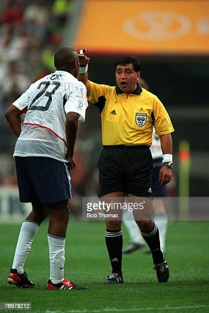 Football, 2002 FIFA World Cup Finals, Group D, Suwon, South Korea, 5th June 2002, USA 3 v Portugal 2, Referee Byron Moreno from Ecuador awards a...