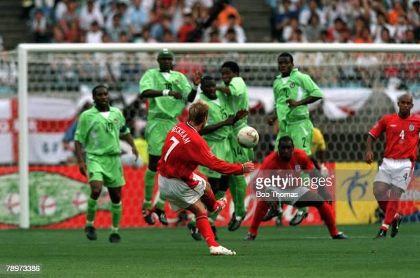 Football 2002 FIFA World Cup Finals Group F Osaka Japan 12th June 2002 Nigeria 0 v England 0 England's David Beckham hits a freekick for goal as the...