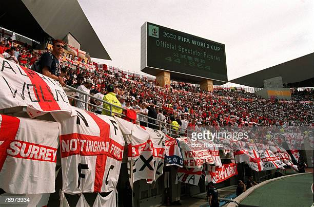 Football 2002 FIFA World Cup Finals Group F Osaka Japan 12th June 2002 Nigeria 0 v England 0 A general view of a section of the crowd containing...