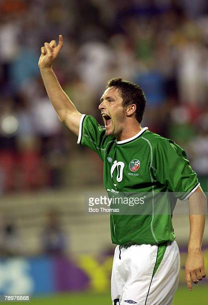Football 2002 FIFA World Cup Finals Ibaraki Japan 5th June 2002 Germany 1 v Republic of Ireland 1 Ireland's Robbie Keane salutes the crowd after...