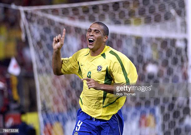 Football 2002 FIFA World Cup Finals Kobe Japan 17th June 2002 Brazil 2 v Belgium 0 Ronaldo celebrates after scoring Brazil's 2nd goal
