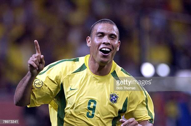 Football, 2002 FIFA World Cup Finals, Kobe, Japan, 17th June 2002, Brazil 2 v Belgium 0, Ronaldo celebrates after scoring Brazil's 2nd goal