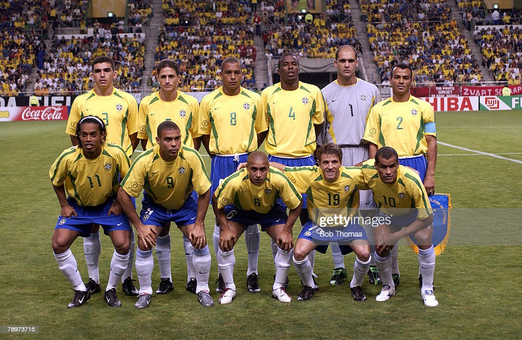 Football. 2002 FIFA World Cup Finals. Kobe, Japan. 17th June 2002. Brazil 2 v Belgium 0. Brazil Team Group : News Photo