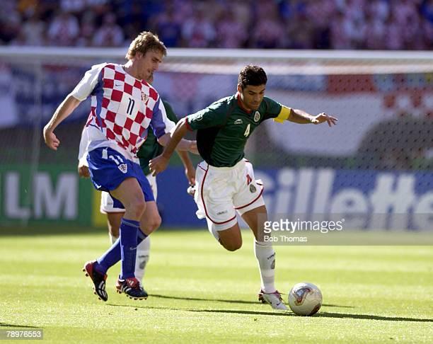 Football 2002 FIFA World Cup Finals Niigata Japan 3rd June 2002 Mexico 1 v Croatia 0 Rafael Marquez of Mexico with Croatia's Alen Boksic