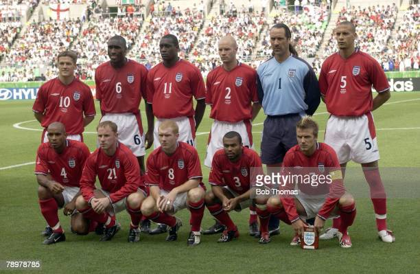 Football 2002 FIFA World Cup Finals Osaka Japan 12th June 2002 Nigeria 0 v England 0 England Team Group LR Back Row Michael Owen Sol Campbell Emile...