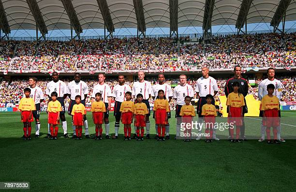 Football 2002 FIFA World Cup Finals Quarter Finals Shizuoka Japan 21st June 2002 England 1 v Brazil 2 The England team lineup for the anthems with...
