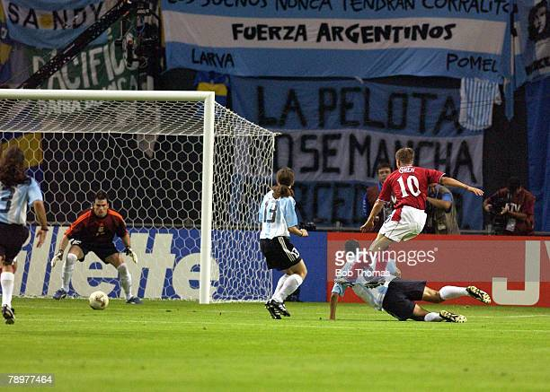 Football 2002 FIFA World Cup Finals Sapporo Japan 7th June 2002 Argentina 0 v England 1 England's Michael Owen shoots at goal and hits the post