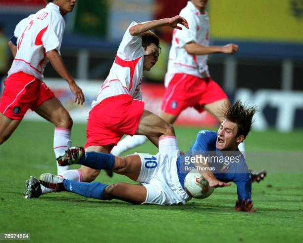 Football 2002 FIFA World Cup Finals Second Phase Daejeon South Korea 18th June 2002 South Korea 2 v Italy 1 Italy's Francesco Totti falls in the...