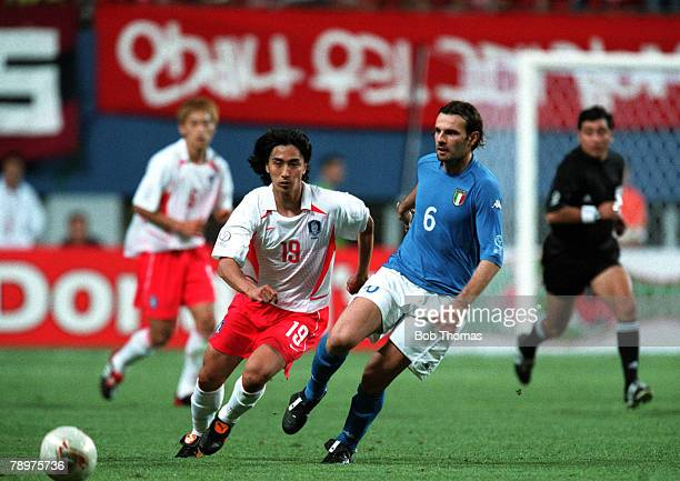 Football 2002 FIFA World Cup Finals Second Phase Daejeon South Korea 18th June 2002 South Korea 2 v Italy 1 South Korea's Jung Hwan Ahn and Italy's...